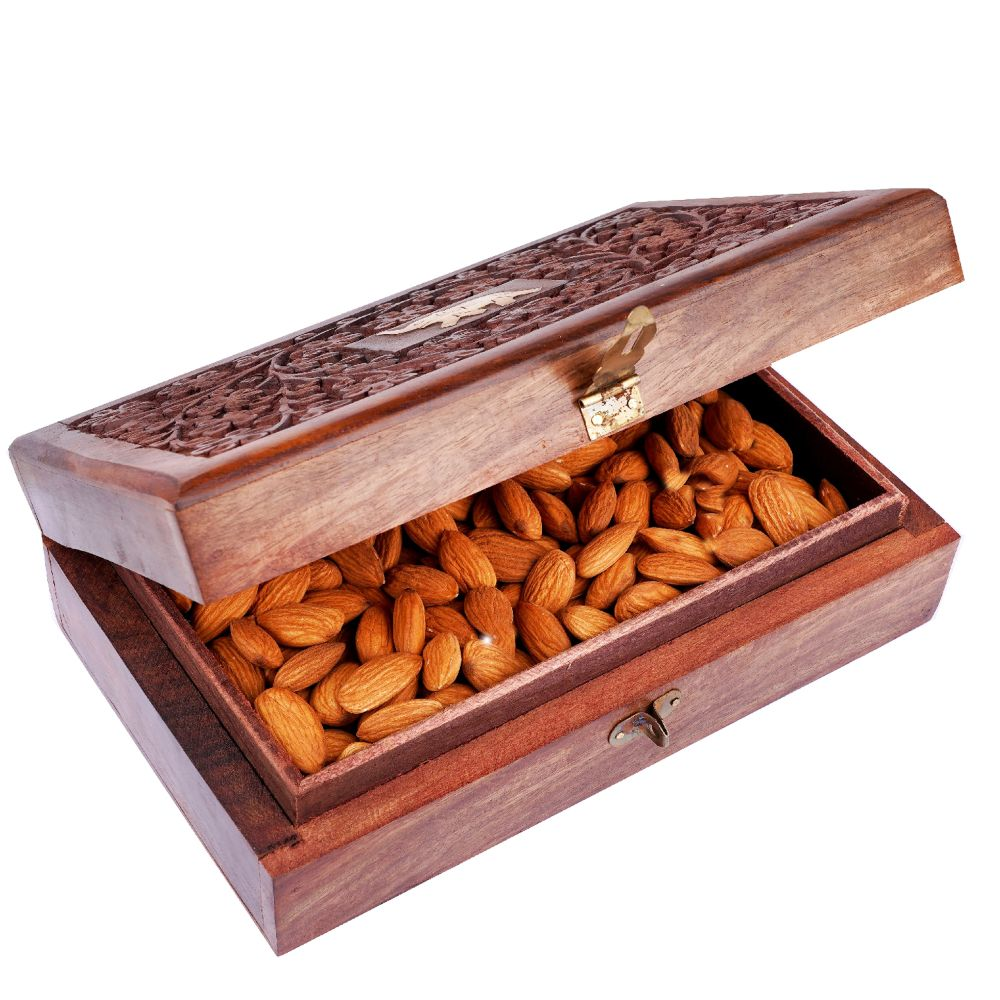 Wooden Craving Jewellery Box with Almonds