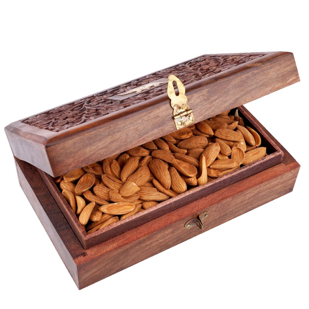 Wooden Craving Jewellery Box with Mamra Almonds
