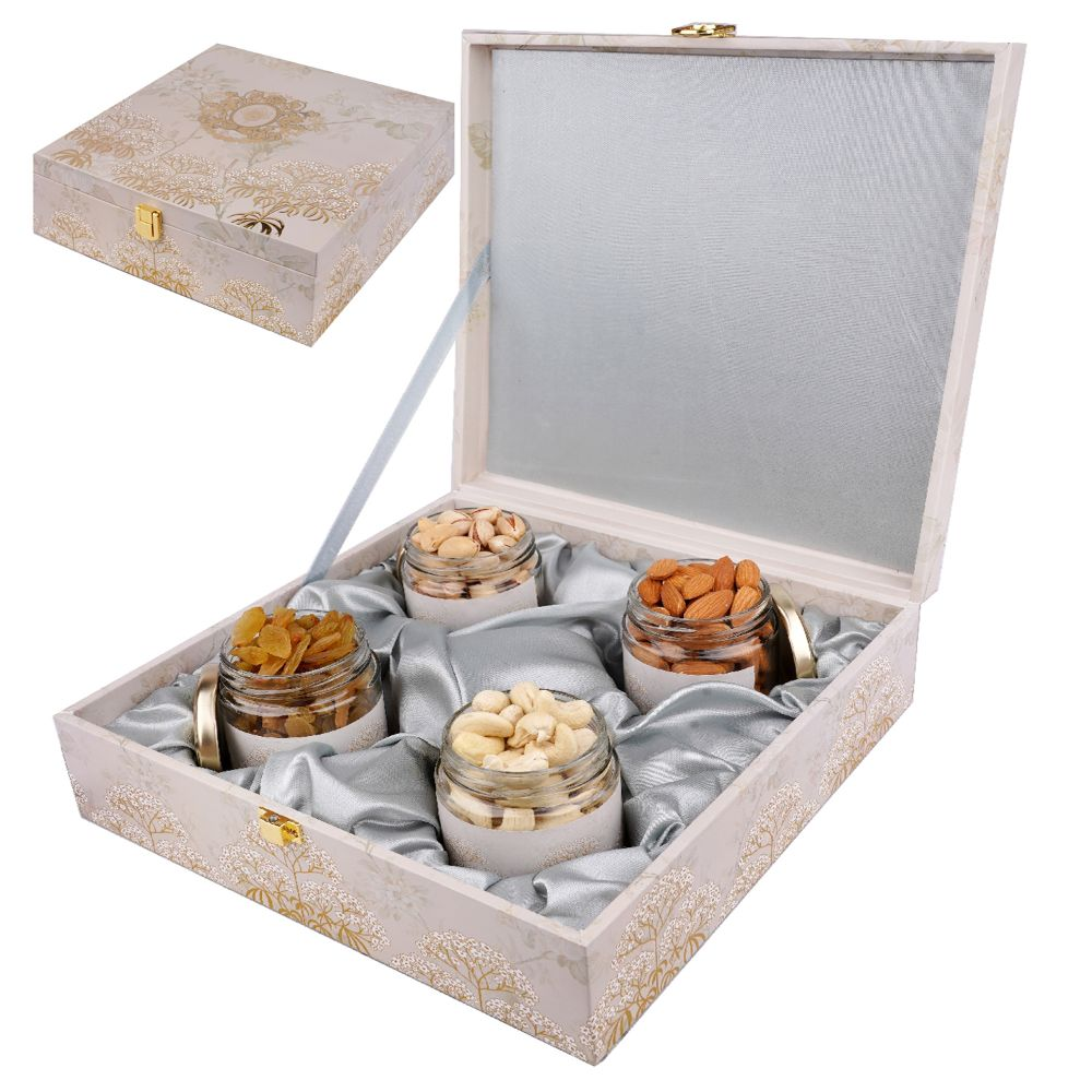 Wooden Popular Box with 4 Dryfruit Jars