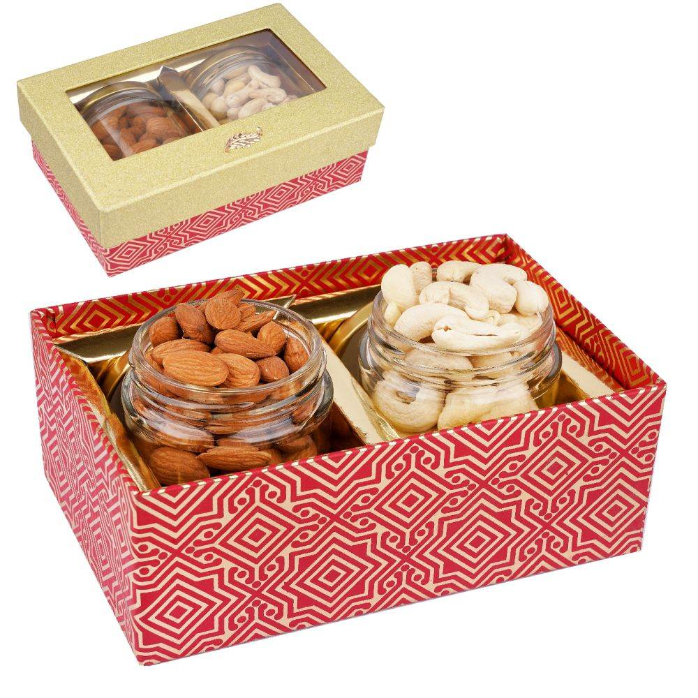 Golden box with 2 Jars of Cashews and Almonds