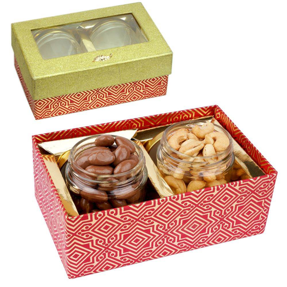Golden box with 2 Jars of Chocolate Coated Almonds and Roasted Cashews