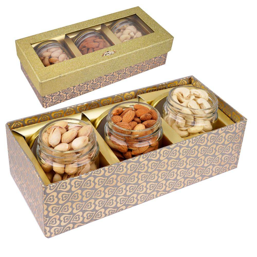 Golden box with 3 Jars of Cashews, Almonds and Pistachios