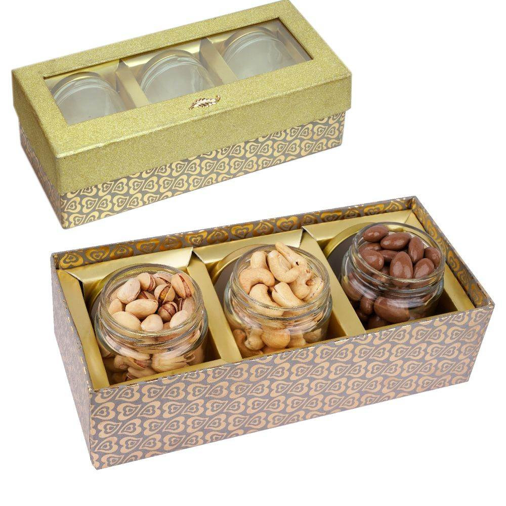 Golden box with 3 Jars of Chocolate Coated Almonds, Roasted Cashews and Pistachios