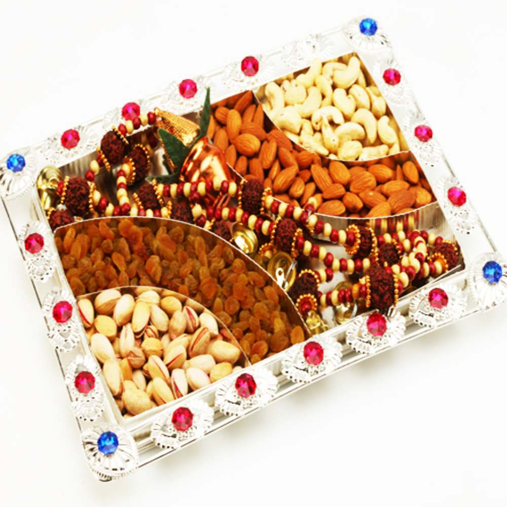 Silver dryfruit Tray with Toran