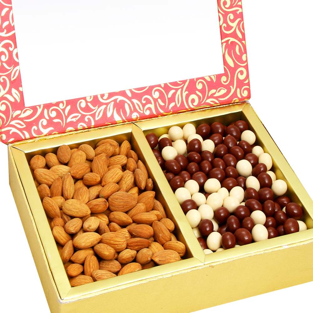 Diwali Hampers -Pink 2 Part Almonds and Nutties Box