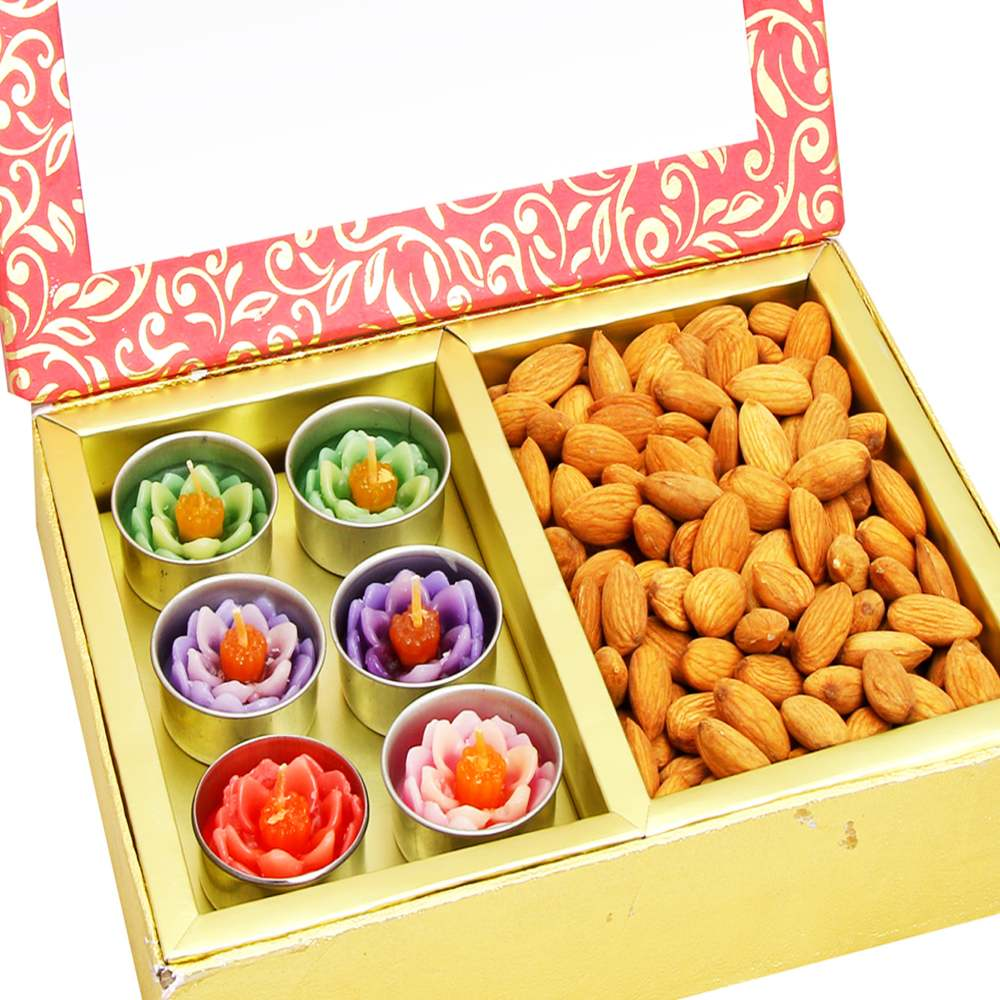 Diwali Hampers -Pink 2 Part Almonds and T-lites Box