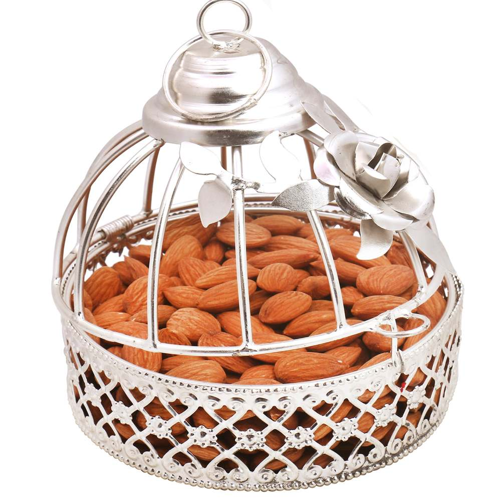 Diwali Dryfruits Hampers- Silver Almonds Cage
