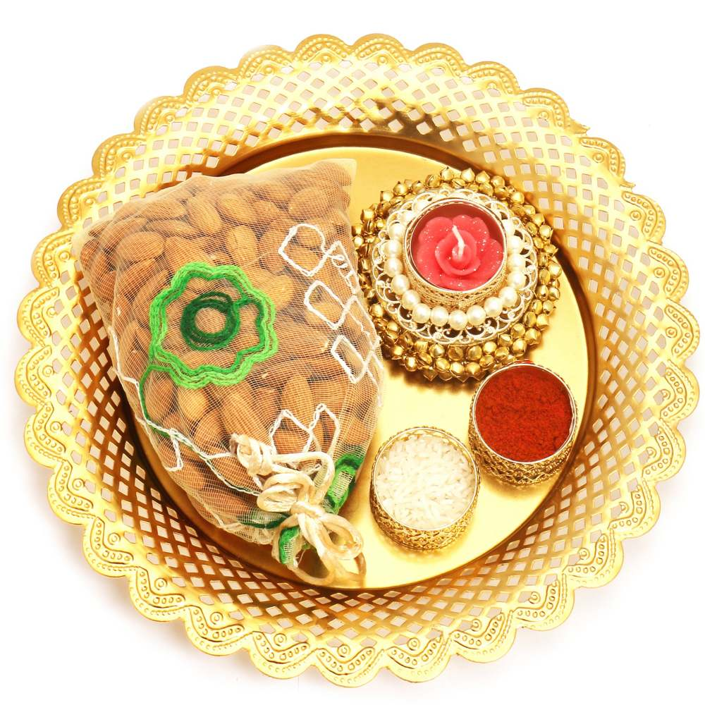 Golden Pooja Thali with Almonds Pouch and Gungroo T-lite