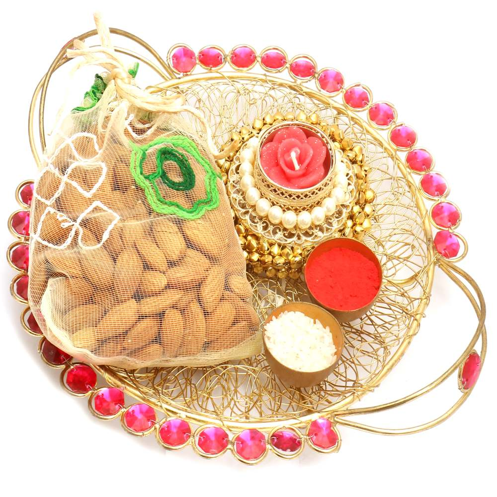 Golden Mesh pooja Thali with Gungroo T- Lite and Almonds Pouch