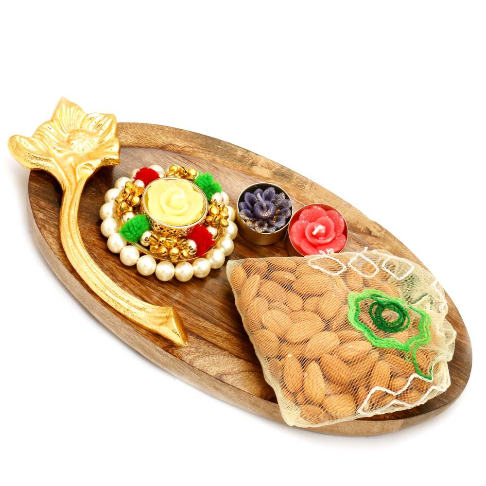 Wooden Platter with Pearl T-Lite and almonds Pouch