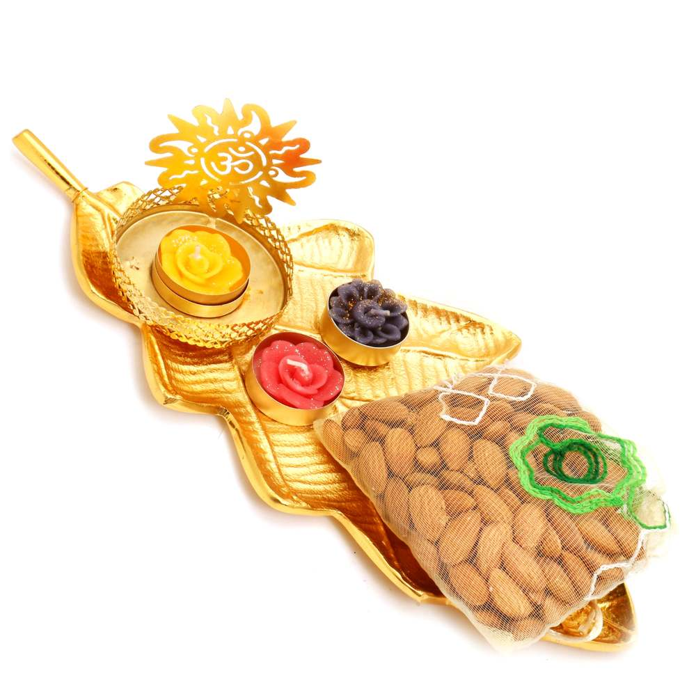 Golden Leaf Platter with Om T-Lite and almonds Pouch