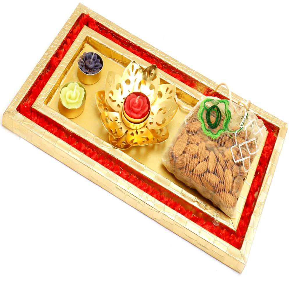 Red and Gold Platter with Golden T-Lite and almonds Pouch