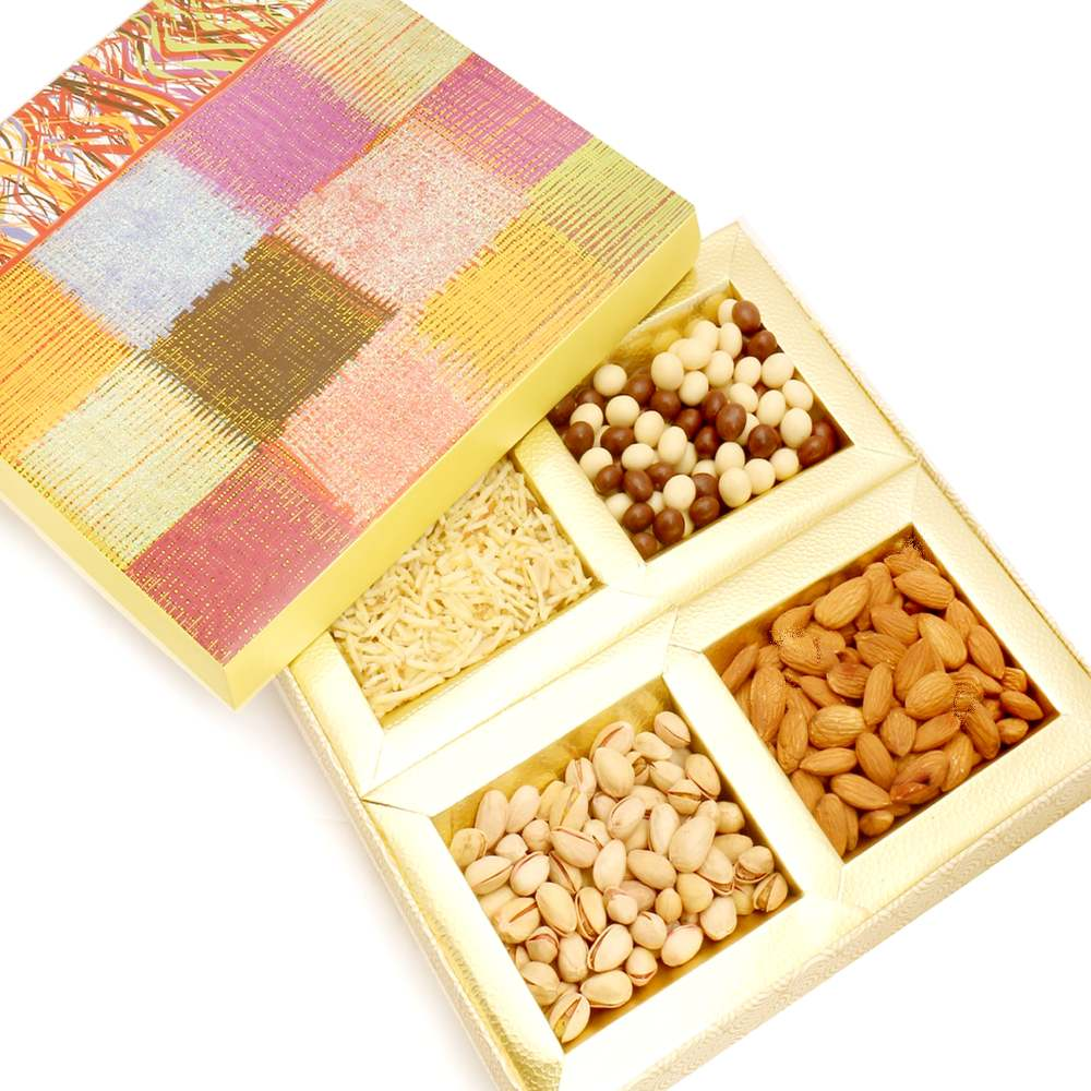 Colurful Hamper box with Almonds, Pistachios, Namkeen and Nutties