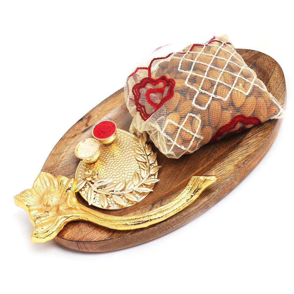 Wooden Platter with Pooja Thali and Almonds Pouch