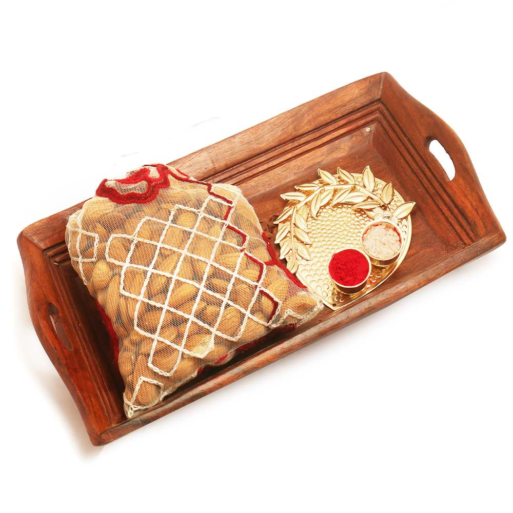 Small Wooden Serving Tray with Almonds Pouch & Pooja Thali
