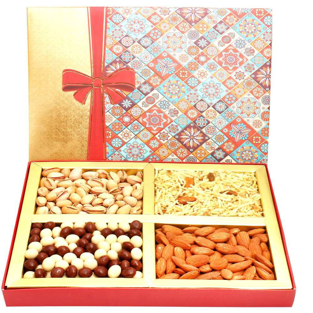 Printed Bow Hamper box with Almonds, Pistachios, Namkeen and Nutties