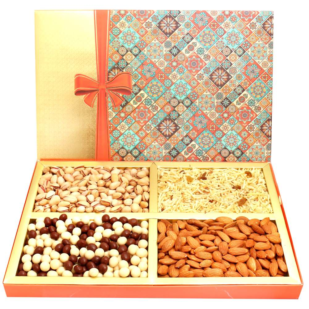 Printed Bow Hamper box with Almonds, Pistachios, Namkeen & Nutties