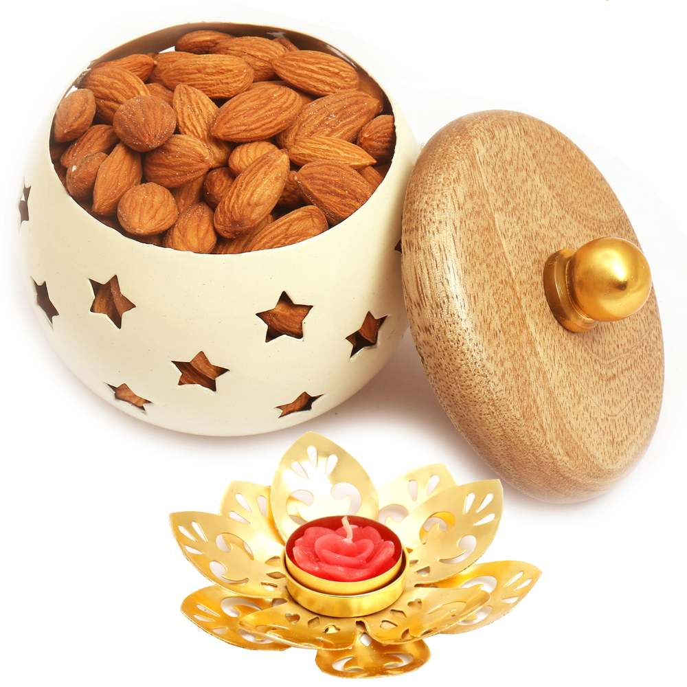 White Wooden Almonds Jar with Metal T-Lite
