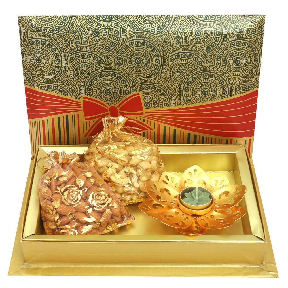 Almonds, Cashews Pouches with Golden T-lite in Fancy Gift Box