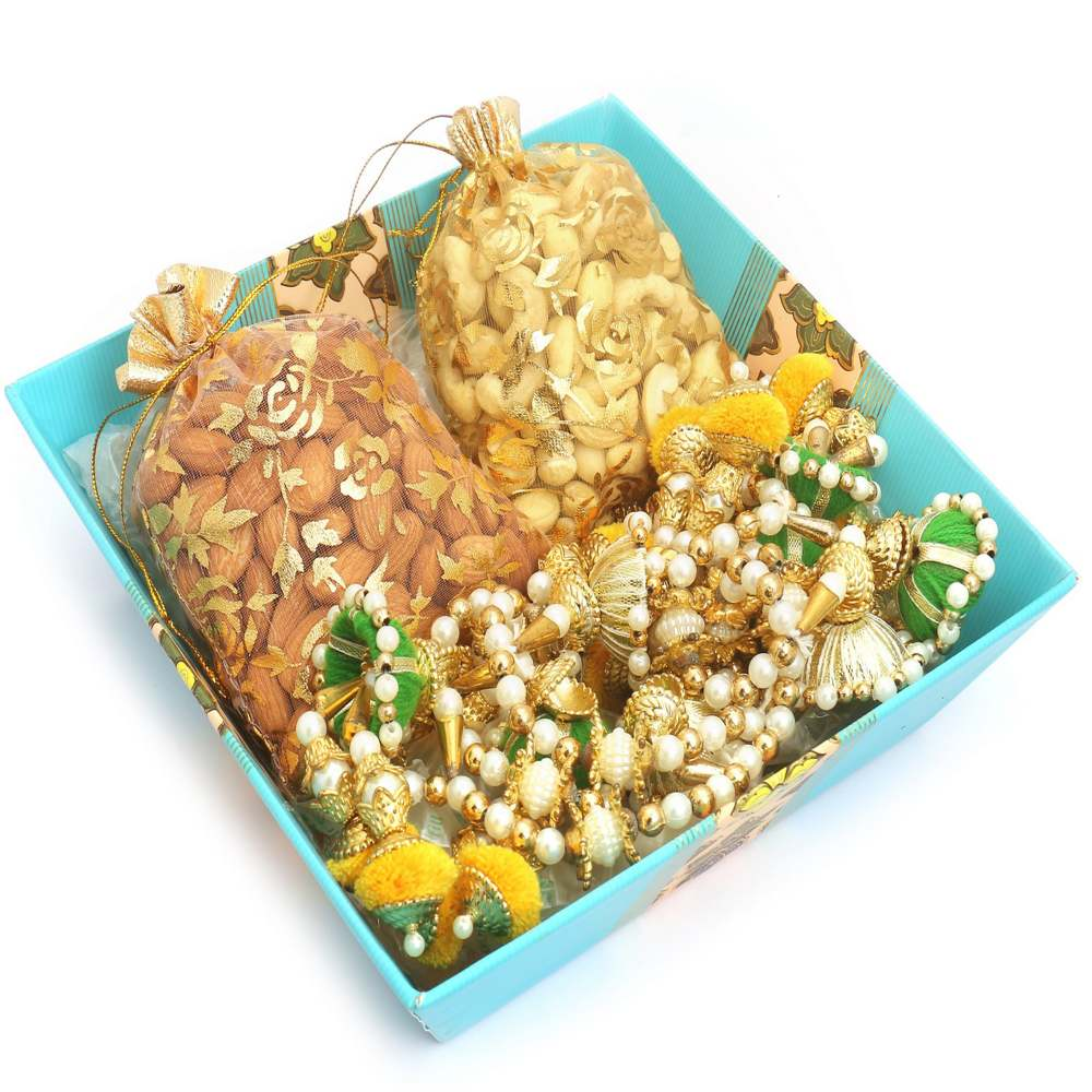 Medium Square Basket with Almonds, Cashew Pouches and Toran