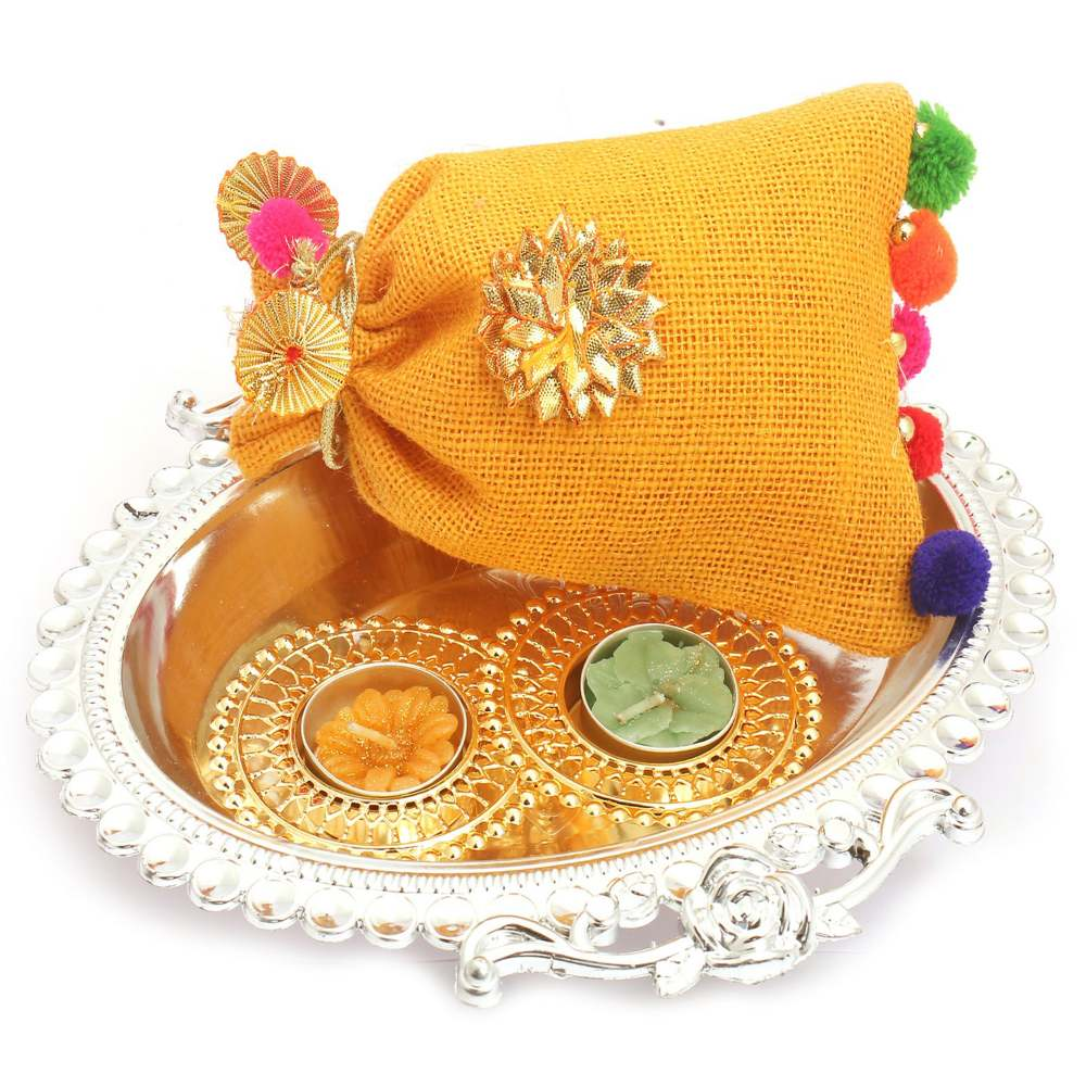 Silver Oval Tray with Jute Almonds Pouch and 2 T-Lites