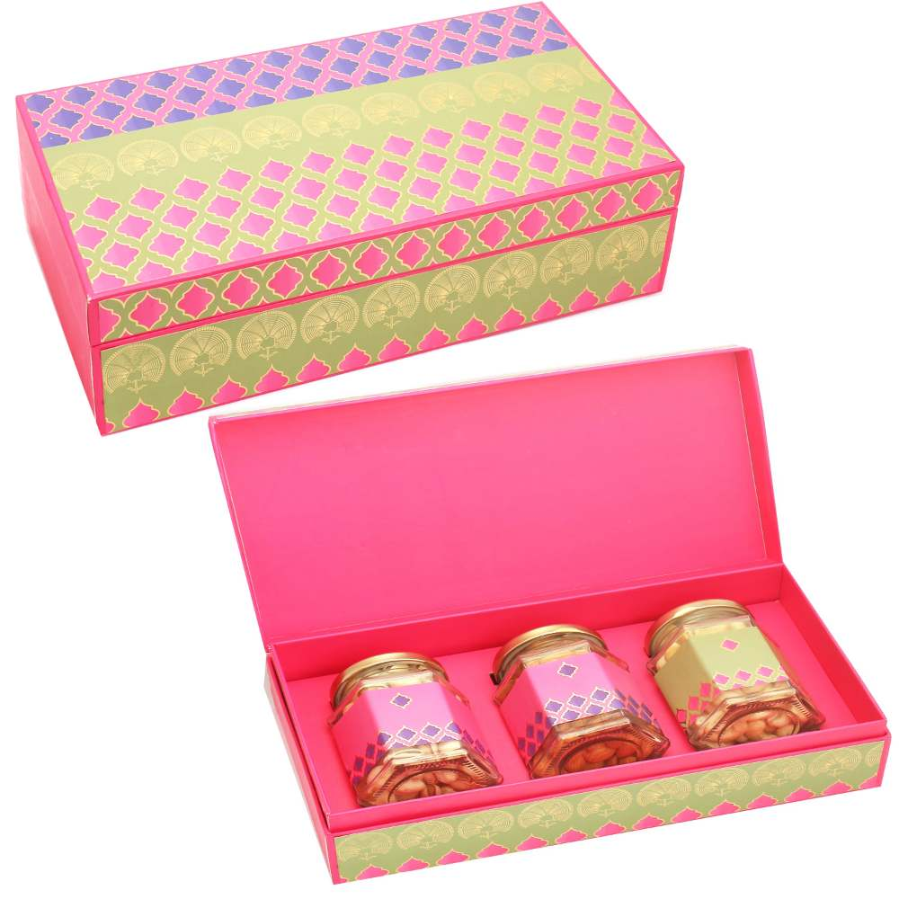 Pink Green Almonds, Chocoaltes and Nutties 3 Jars Box