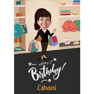 Digital Gifts-shopaholic caricature for her birthday