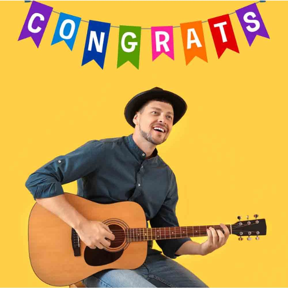 Digital Gifts-Congratulations Special Guitarist on Video Call 20 30 Mins