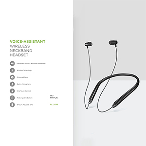 Headphones-VOICE ASSISTANT WIRELESS NECK BAND HEADSET