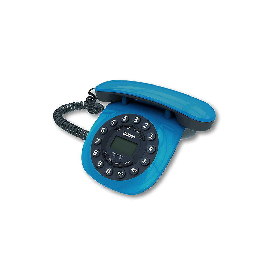 Telephone Handsets-Uniden At8601 Blue Corded Landline Phone