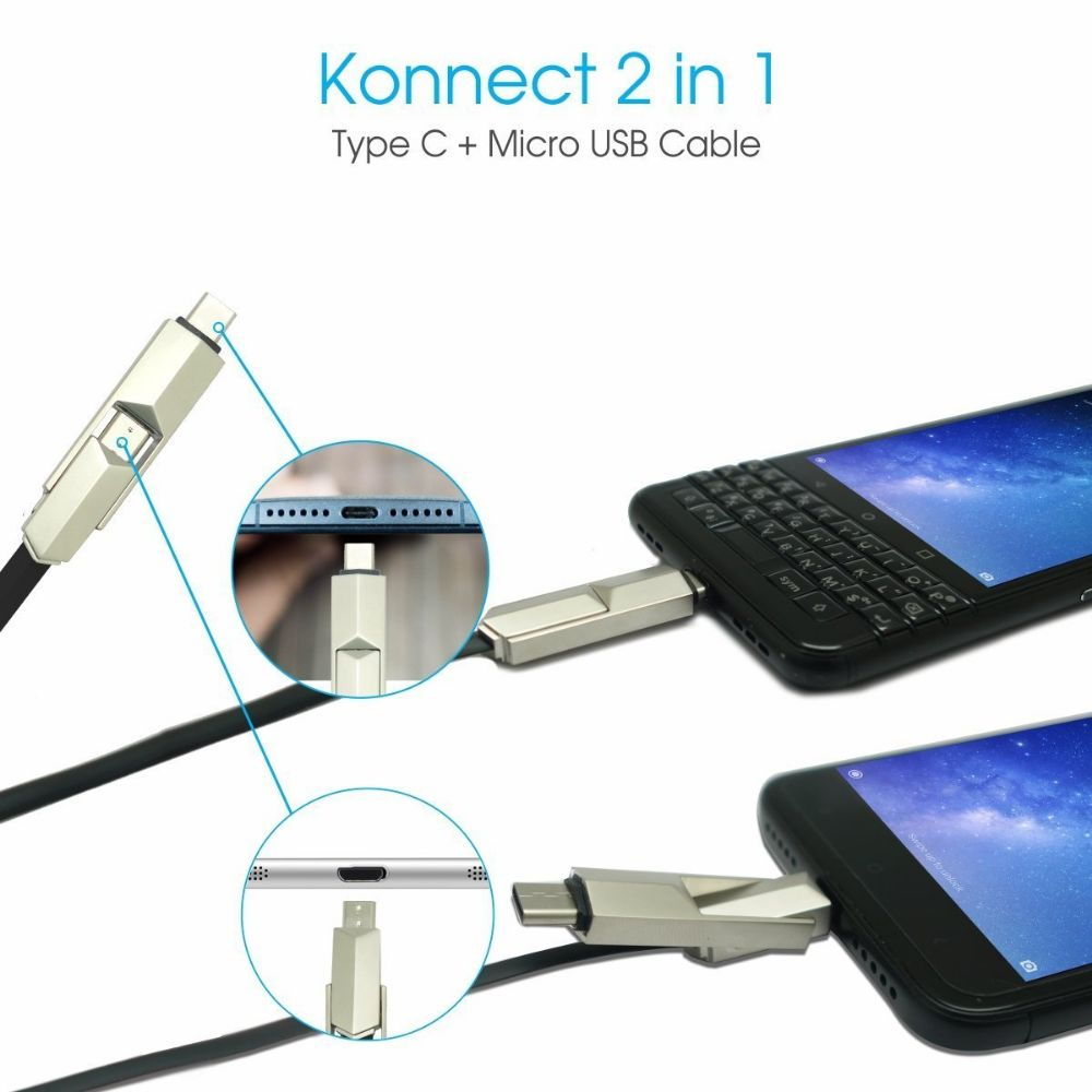 Portronics Konnect 2 In 1 Cable Type C