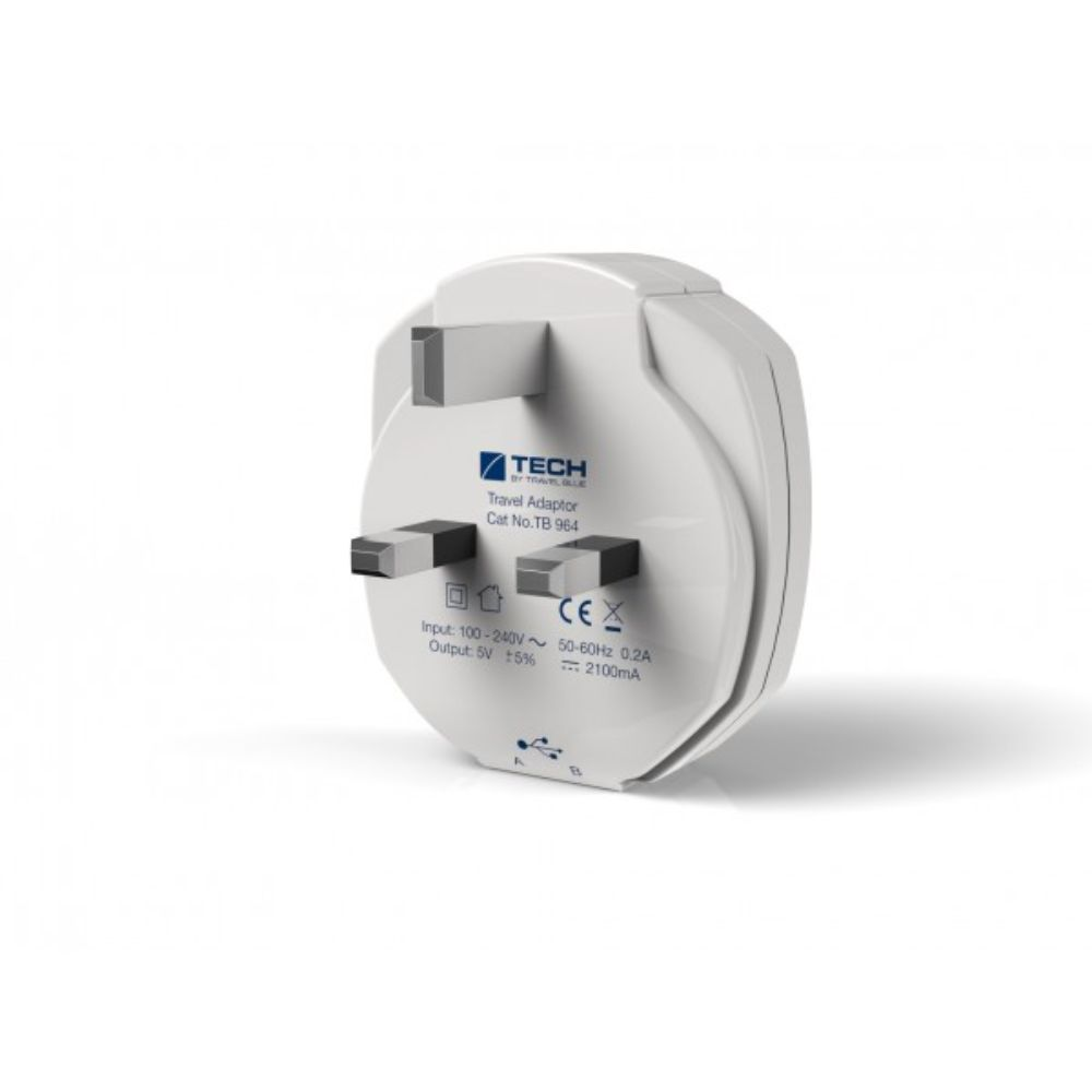 Charger-Travel Blue Dual USB Wall Charger - UK