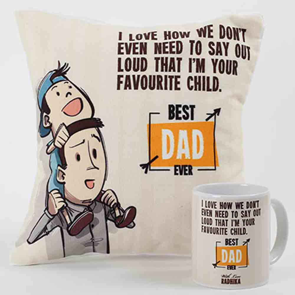 Quirky Gifts-Best Dad Ever Mug And Cushion Combo