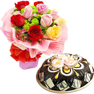 Cakes & Flowers-Chocolate Cake with Love Expression