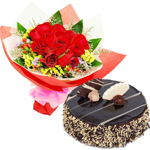 Cakes & Flowers-Chocolate Cake with Red Roses
