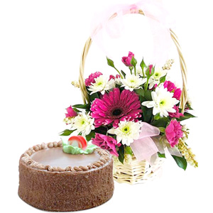 Cakes & Flowers-Beautiful Gerbera'S with Chocolate Truffle Cake