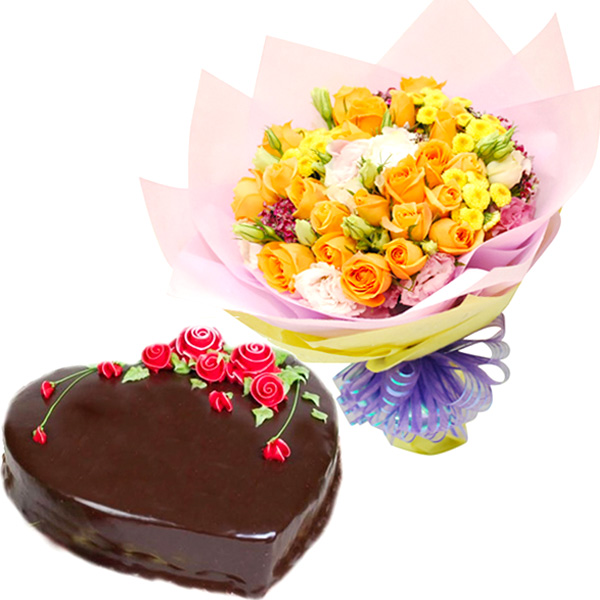 Cakes & Flowers-Heartful Combo of Love