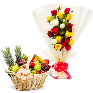 Fruit Hampers-Comtemporary Mix Roses N Fruits