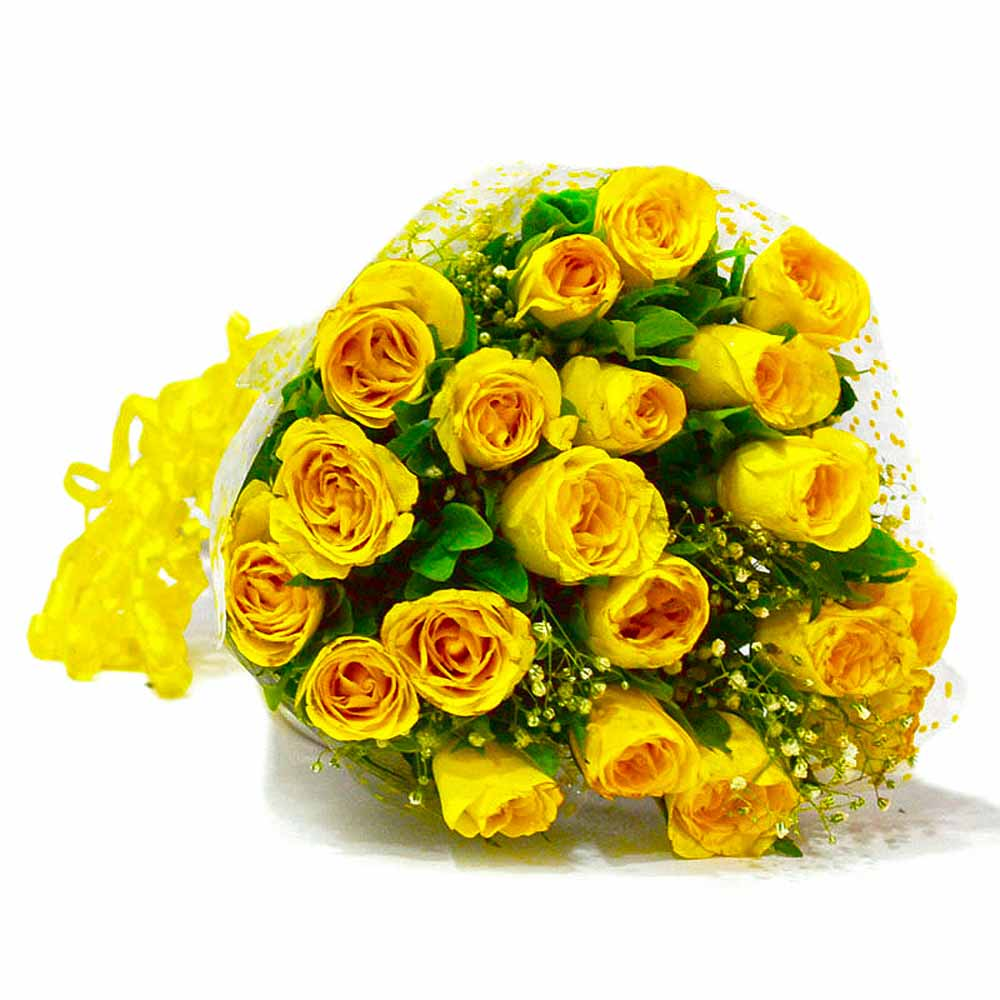 Red Roses-Bouquet of Twenty Yellow Roses