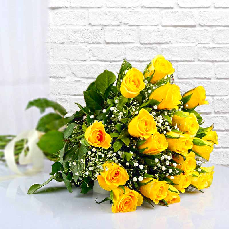 Eighteen Yellow Roses Bouquet