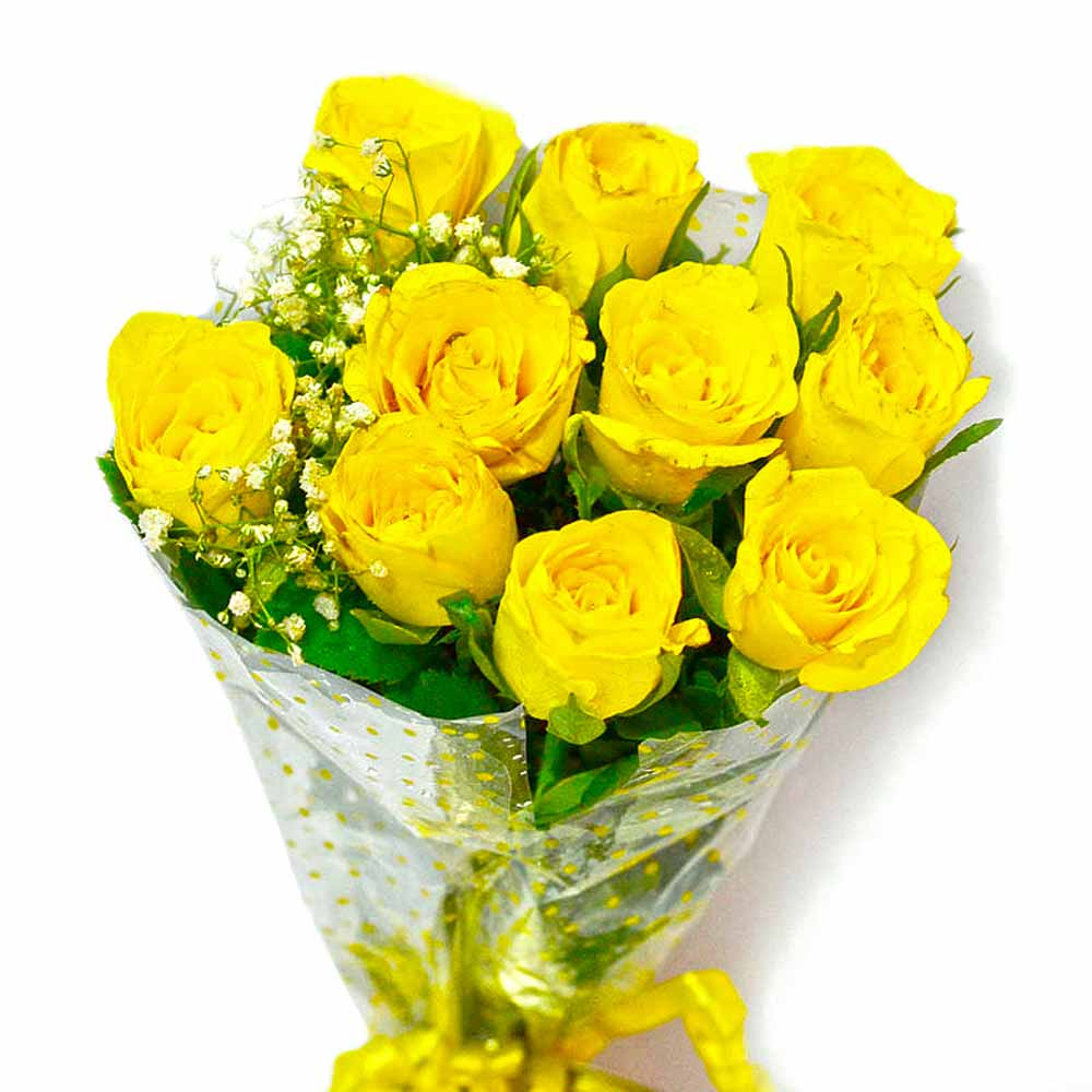 Red Roses-Ten Yellow Roses Hand Tied Bouquet