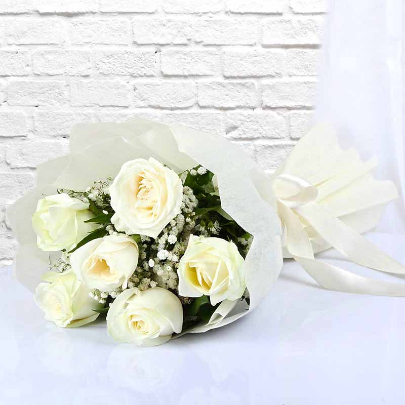 Six White Roses Bouquet
