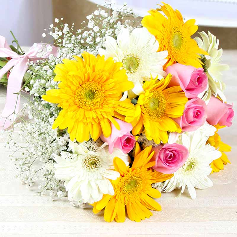 Hand Tied Bunch of Yellow and White Gerberas with Pink Roses