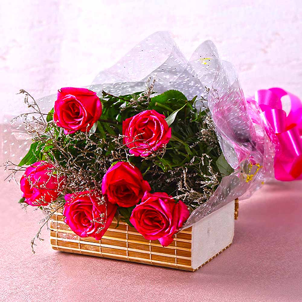 Bouquet of Six Pink Roses For your Loved Ones