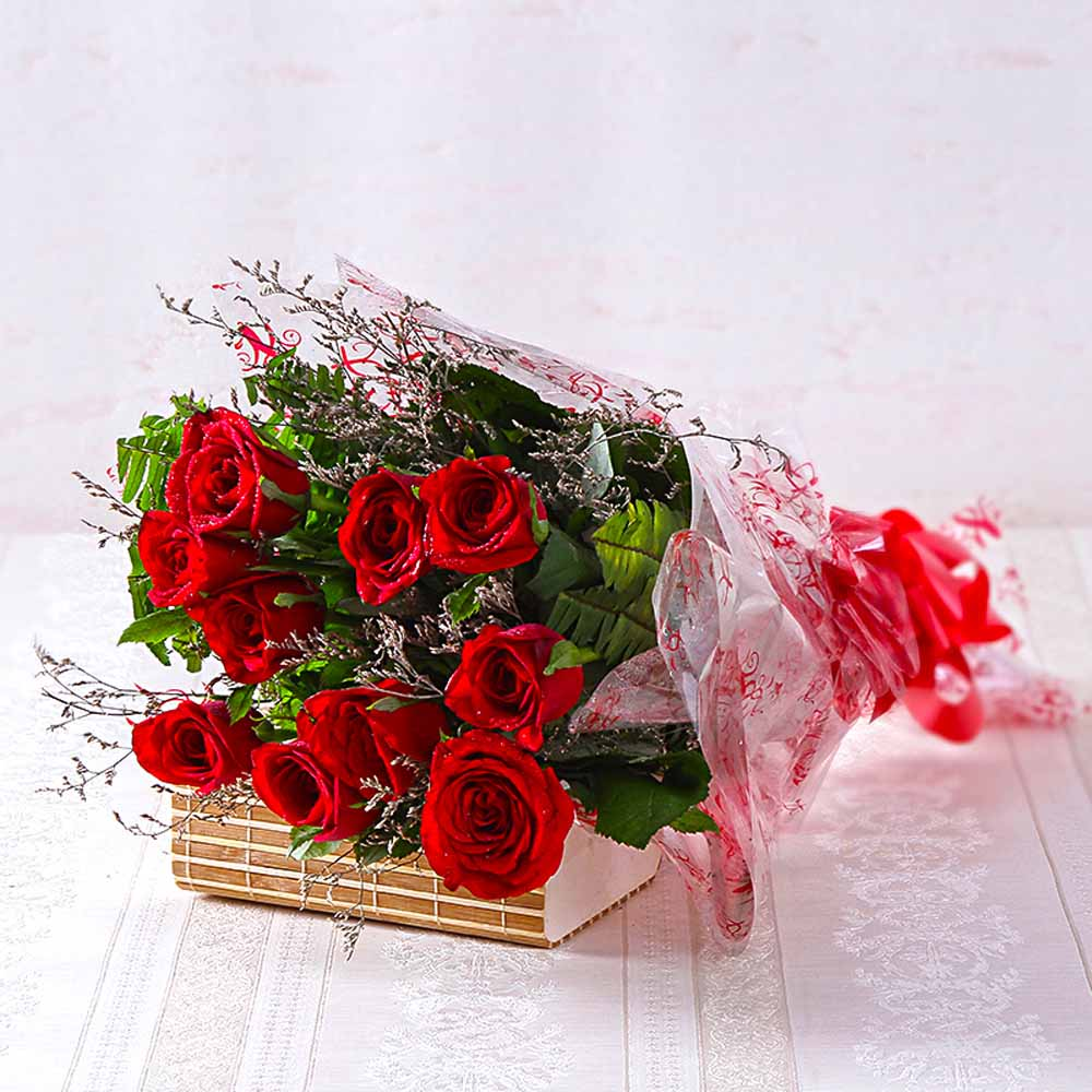 Bouquet of Ten Long Stemmed Red Roses