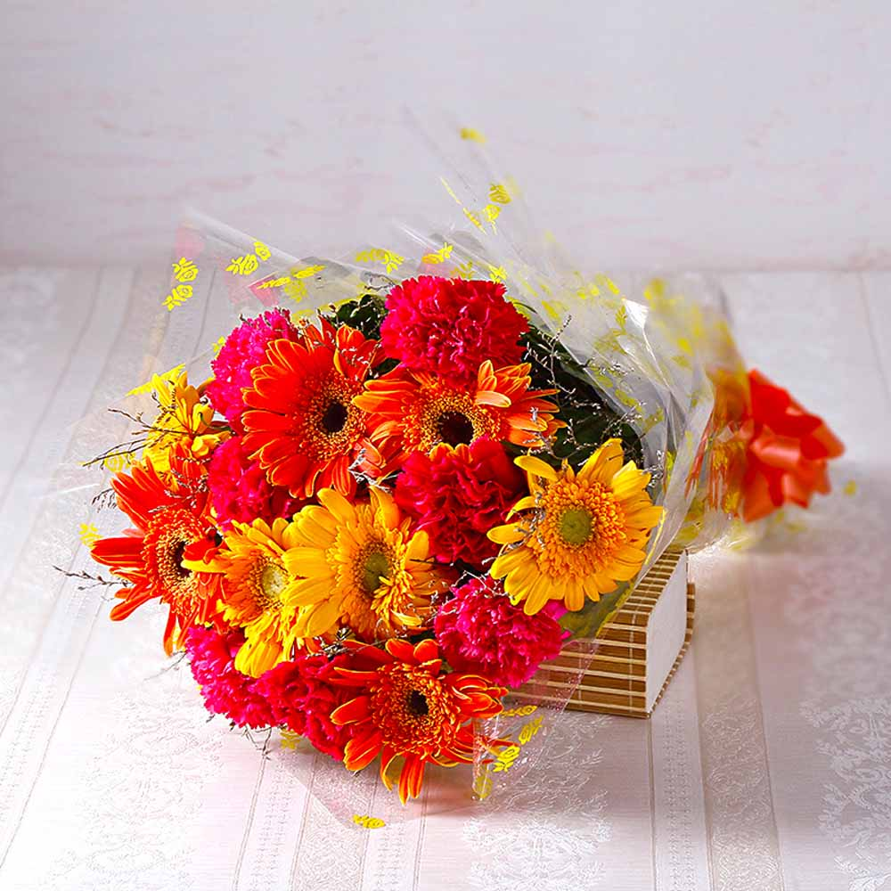 Bouquet of Bright Colour Carnations and Gerberas