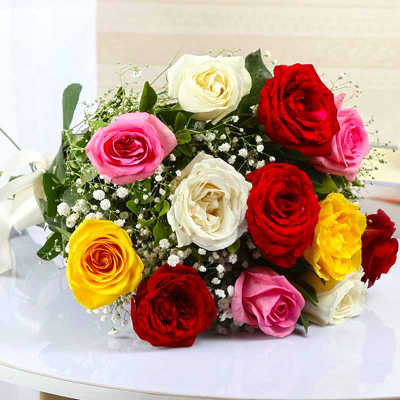 Red Roses-Bouquet of Twelve Colorful Roses