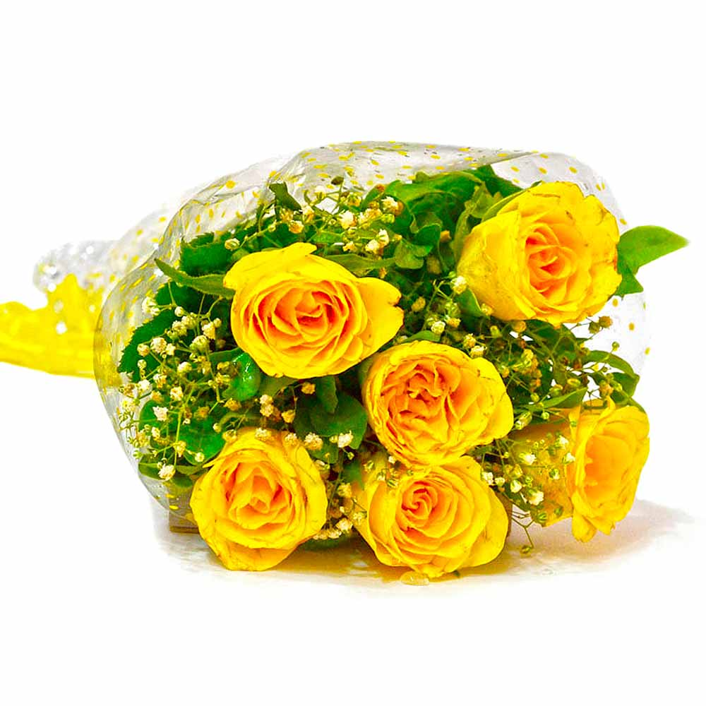 Red Roses-Six Stem of Yellow Roses Bouquet