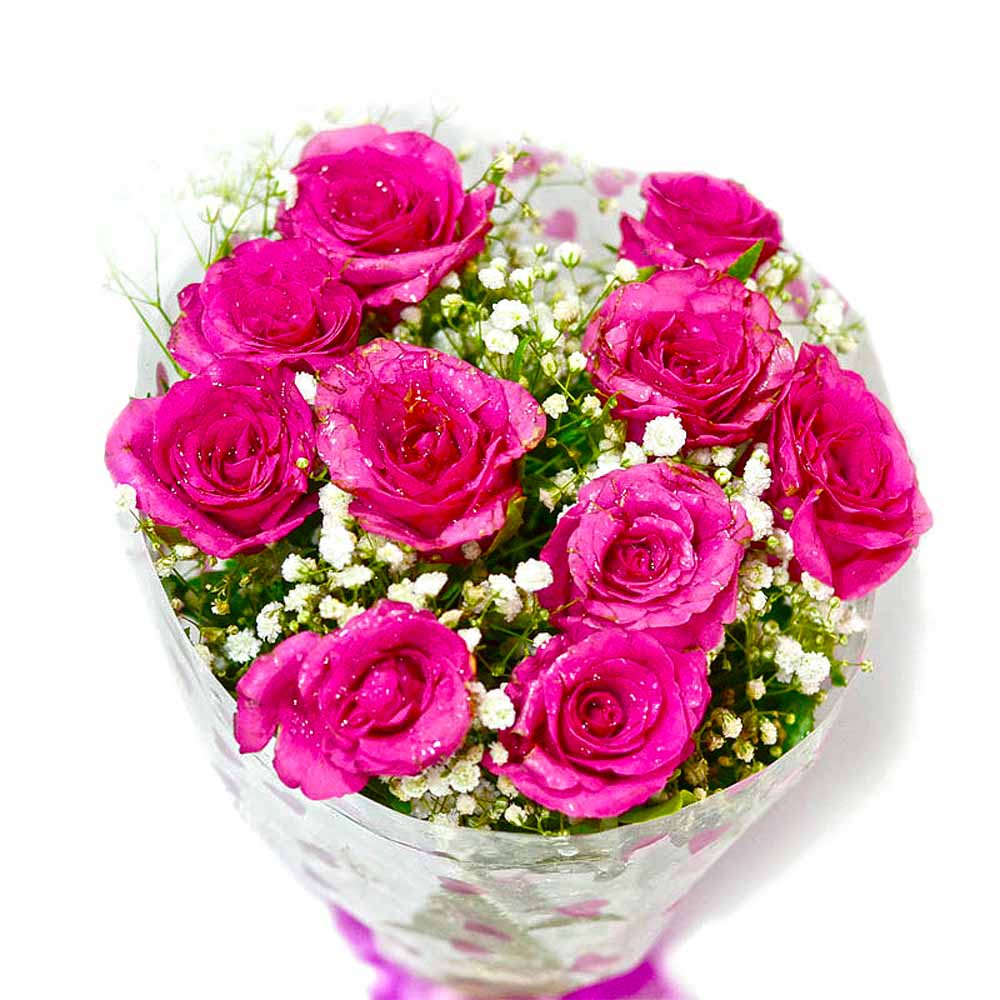 Fresh Ten Pink Roses Bouquet
