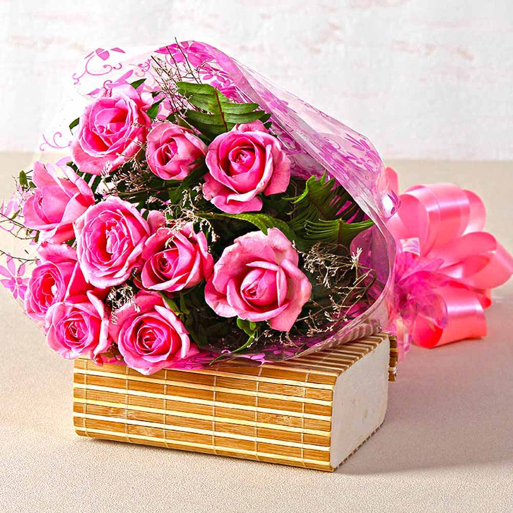 Red Roses-Beautiful Ten Pink Roses Hand Tied Bunch